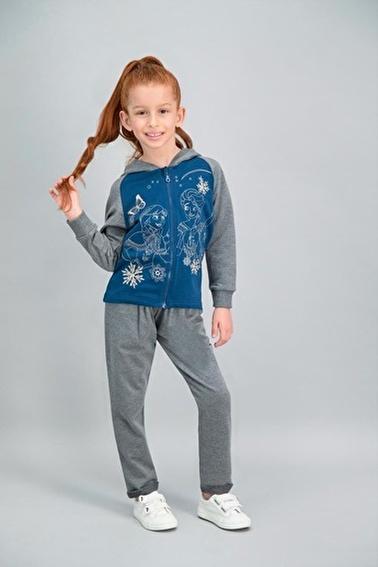 Frozen Karlar Ülkesi - Frozen Lisanslı Lacivert Kız Çocuk Kapüşonlu Eşofman Takımı Lacivert